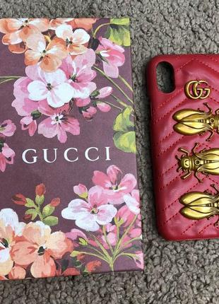 Gucci iphone x case gg marmont animal stud red