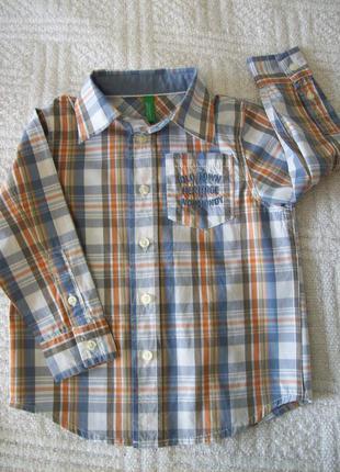 Фирменная рубашка на мальчика 1-1,5 года