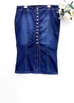 Красивая юбка миди джинсовая юбка на пуговицах большой размер
