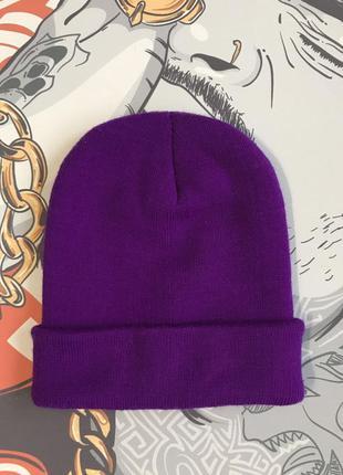Шапка одно тонная фиолетовая