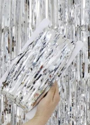 Шторка занавес из фольги для фото зон серебряная 1х3 метра
