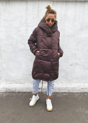 Зимняя куртка плащевка лакк, силикон 300, цвет шоколад