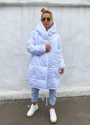 Зимняя куртка на силиконе 300, плащевка лаке белый цвет