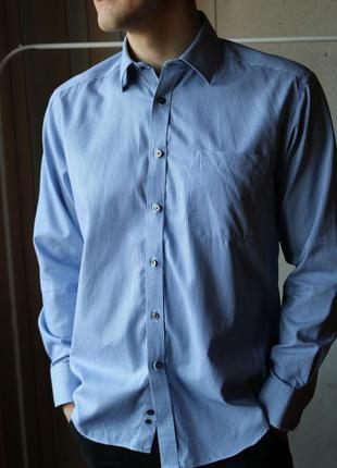 Синя сорочка в полоску від marks&spencer