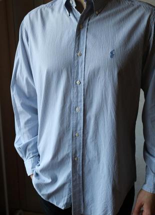 Блакитна сорочка в полоску polo by ralph lauren