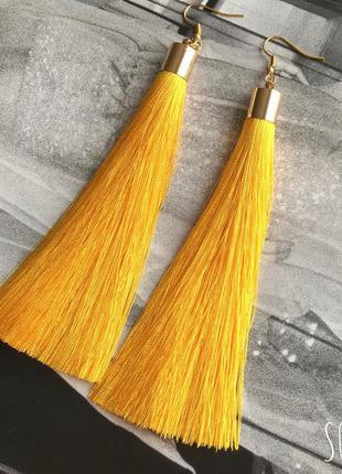 Серьги кисти желтые