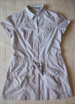 Платье-рубашка халат туника, с кулиской на бедрах