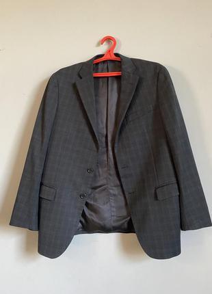 Мужской пиджак в клетку темно синий с чёрным из тонкой шерсти