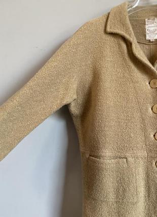 Кардиган жакет бежевый ( кэмел) из буклированной шерстяной ткани