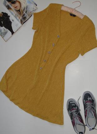 Трендовое горчичное платье