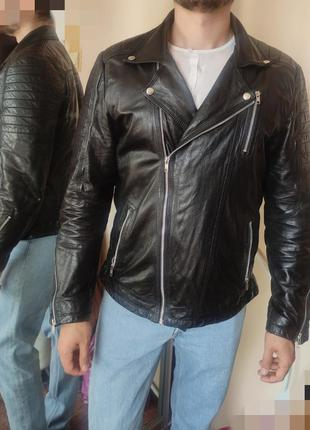 Aim factory куртка кожаная косуха мужская черная натуральная 4...