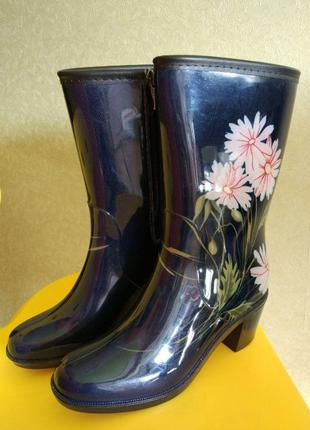 Женские резиновые сапоги на каблуке Keddo синие размер 37