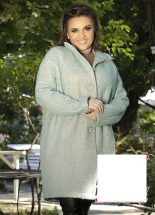Стильное шерстяное пальто оверсайз   ткань - шерсть-букле, под...