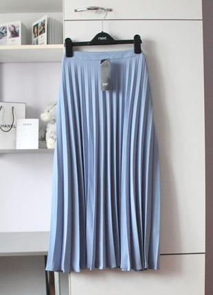 Новая шикарная голубая миди юбка плиссе от f&f
