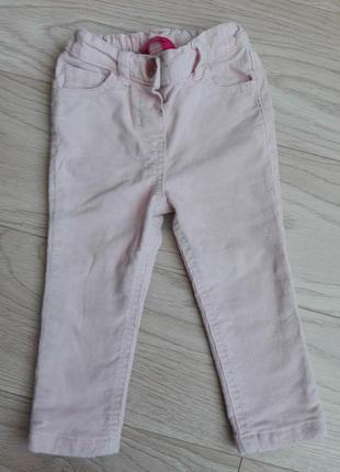 Велюровые пудровые штаны, узкие, скинни, на 12 мес.