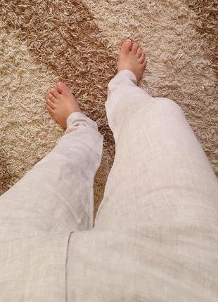 Легкие льняные брюки slim от denim co