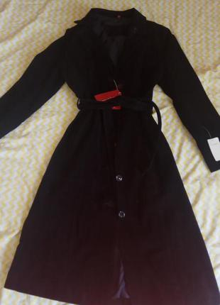 Замшевое черное пальто