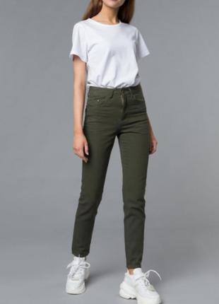 ❤️завышеные джинсы скинни цвета хаки