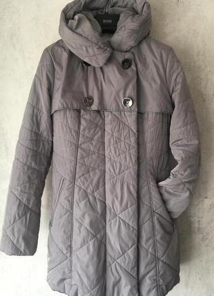 Демисезонное пальто, стеганое, с капюшоном, серое