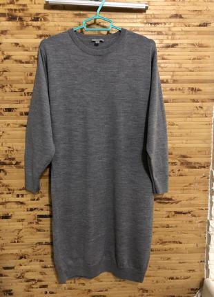 Шерстяное платье cos серого цвета