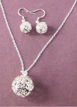 🏵️набор бижутерии в серебре 925 серьги и кулон на цепи шарики,...