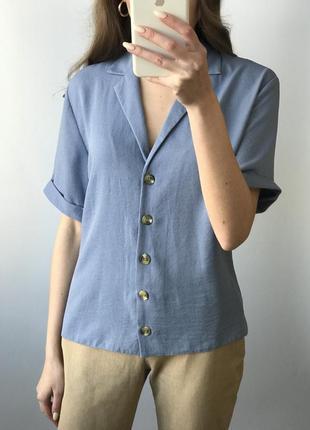 Рубашка голубая прямая оверсайз объемная короткий рукав блуза ...