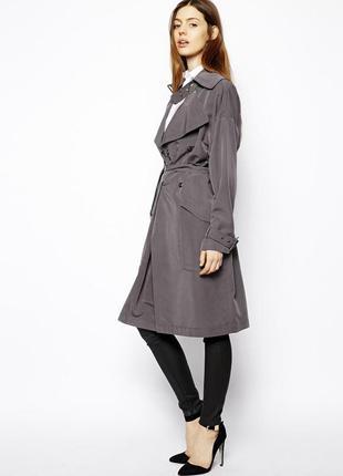 Брендовый серый плащ тренч с поясом и карманами new look котто...