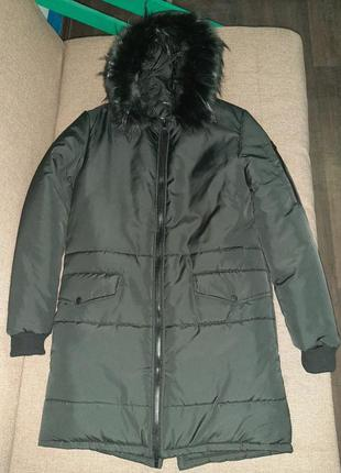 Теплая и комфортная куртка парка с капюшоном и мехом, турция, ...