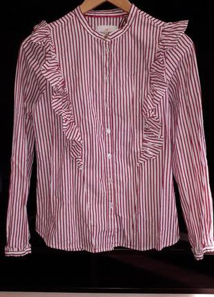 Красивая блузка в полоску с рюшами раз.s-m