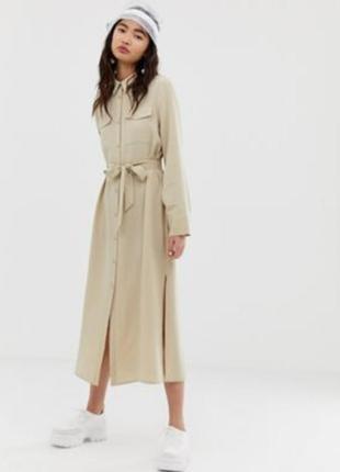 Zara стильное платье макси, платье- халат, платье рубашка, пла...