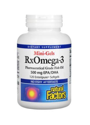 Natural Factors, Mini-Gels RxOmega-3, 500 мг, 120 мягких капсул