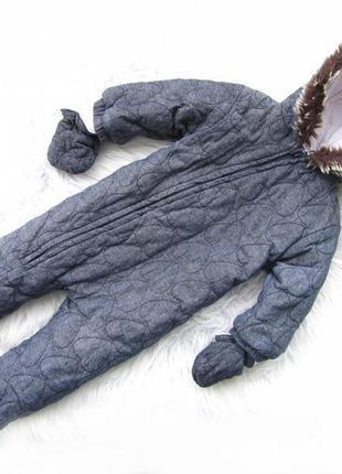 Качественный теплый комбинезон с капюшоном и рукавицами