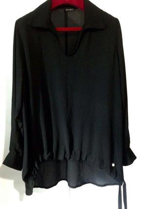 Стильная чёрная шифоновая блузка pomodoro