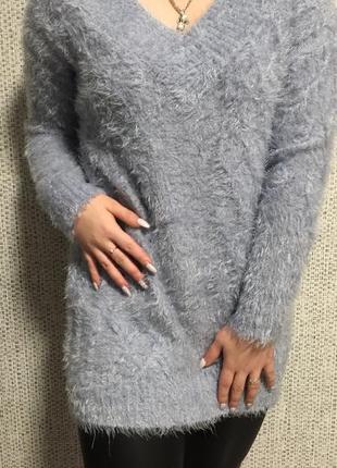 Пушистый тёплый лавандовый свитер george