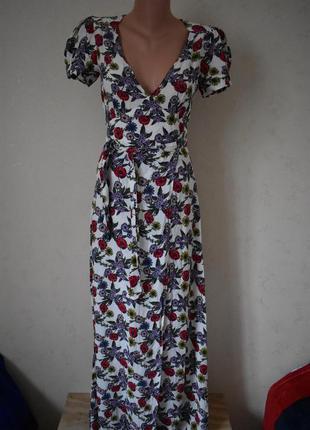 Красивое длинное платье на запах с принтом asos