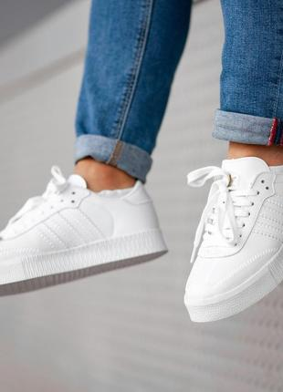 Кроссовки женские adidas samba white, адидас самба белые, деми...