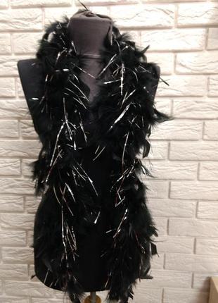 Шарф боа из натуральных перьев черный