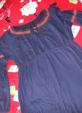 Тонкая хлопковая блуза- туника с вышивкой, швеция, размер 14-16