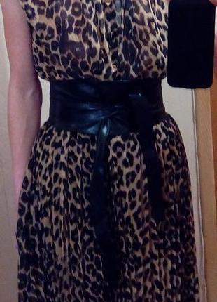 Новое леопардовое длинное платье в пол