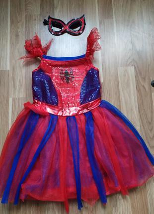 Карнавальный костюм spider-girl - платье девочка-паук 5-6 л