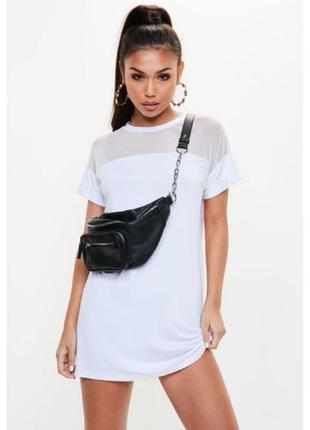 Missguided, платье -футболка с сетчатой вставкой. оверсайз 44-...