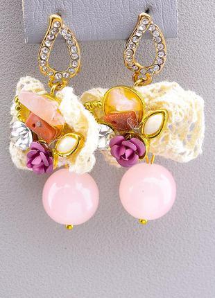 Серьги 'hand made' розовый кварц 0449490