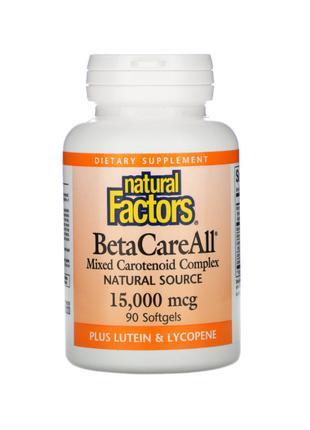 Бета-каротин, BetaCareAll, 15 000 мкг, Natural Factors, 90 капсул