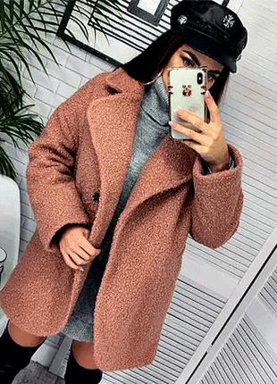 Нежное пальто букле-кокон