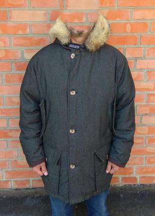 Woolrich denim coated parka пуховик куртка парка оригинал (l-xl)