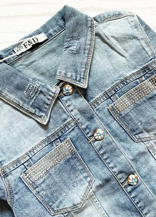 стильная джинсовая куртка для девочки 8-16