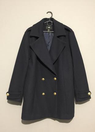 Шерстяное пальто бушлат h&m 16--52 размер.