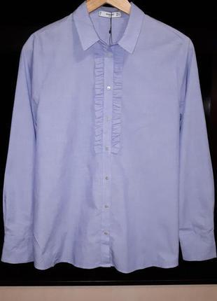 Стильная голубая рубашка с рюшами mango раз.l