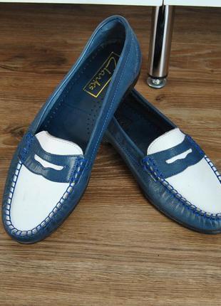 Кожаные лоферы туфли clarks / шкіряні туфлі лофери