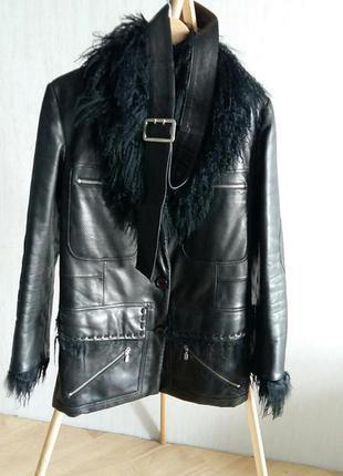 Кожаная куртка утепленная с мехом италия размер m